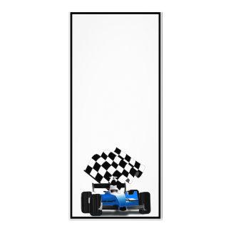 Blue Race Car with Checkered Flag Rack Card