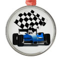 Blue Race Car with Checkered Flag Round Metal Christmas Ornament