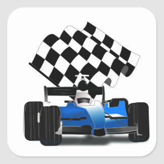 Blue Race Car with Checkered Flag Square Sticker