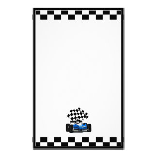 Blue Race Car with Checkered Flag Personalized Stationery