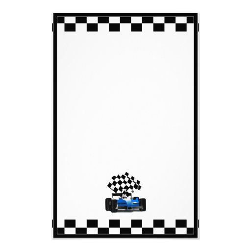 blue race car with checkered flag stationery