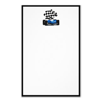 Blue Race Car with Checkered Flag Custom Stationery