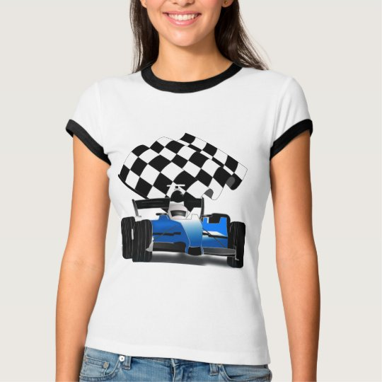 Blue Race Car with Checkered Flag T-Shirt