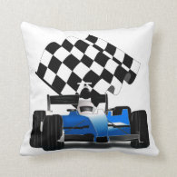 Blue Race Car with Checkered Flag Throw Pillows