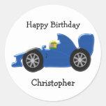 Blue Racing Car Birthday Round Sticker