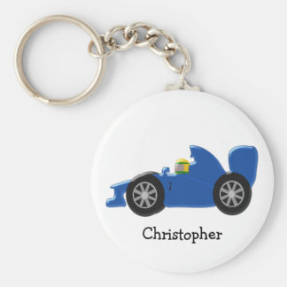 Blue Racing Car Just Add Name Basic Round Button Keychain