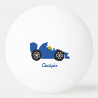 Blue Racing Car Just Add Name Ping-Pong Ball
