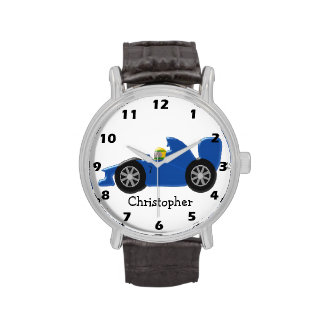 Blue Racing Car Just Add Name Wristwatch