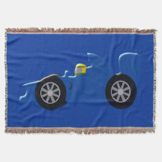 Blue Racing Car Throw Blanket
