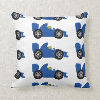 Blue Racing Car Throw Pillow