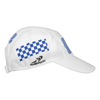 Blue Racing Checkered Flag Display Customizable Headsweats Hat
