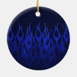 Blue Racing Flames on Carbon Fiber Print Double-Sided Ceramic Round Christmas Ornament