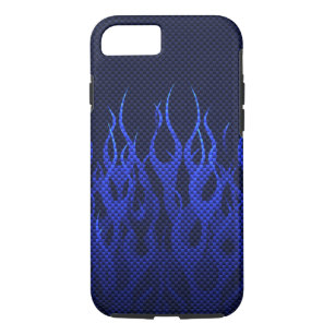 Blue Racing Flames on Carbon Fiber Print iPhone 8/7 Case