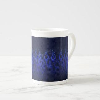 Blue Racing Flames on Carbon Fiber Print Tea Cup