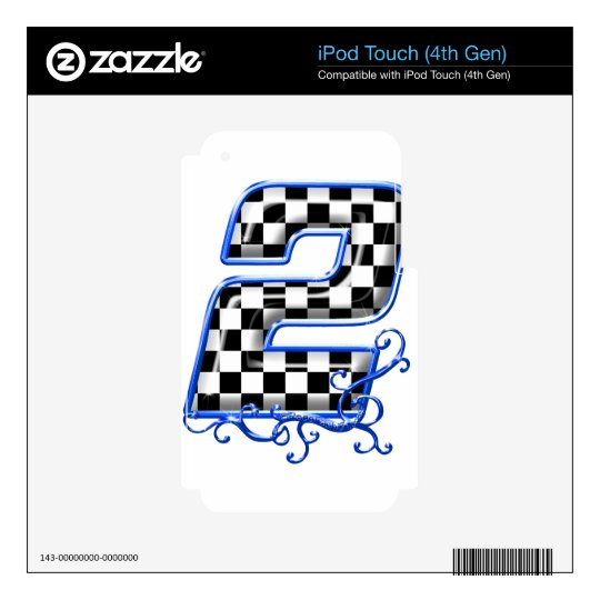 blue racing number 2 iPod touch 4G decal