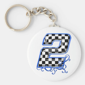 blue racing number 2 keychain