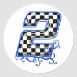 blue racing number 2 round sticker