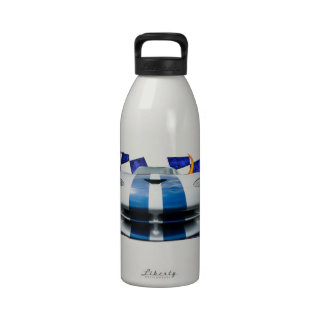 Blue racing striped sports car built for speed reusable water bottles