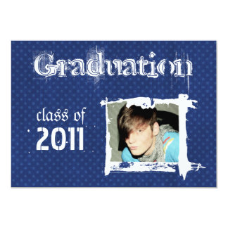 Blue Rad Grad Funky Dots Graduation Invitations
