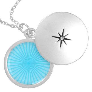 Blue Radial Sun Pattern Round Locket Necklace