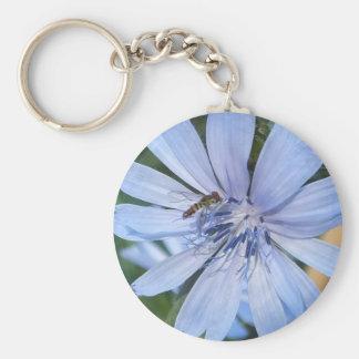 Blue Radicchio Flower N Bee Keychain