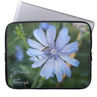 Blue Radicchio Flower n Bee Laptop Sleeve