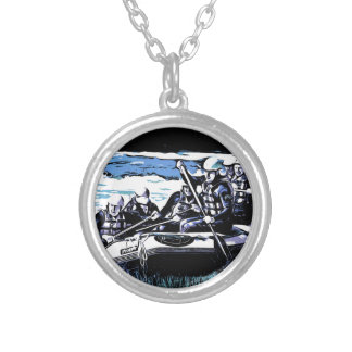 BLUE RAFTING SILVER PLATED NECKLACE