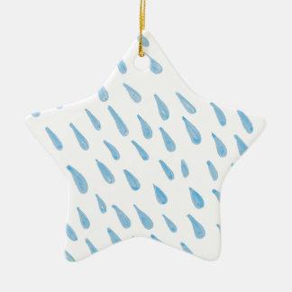 Blue Rain Drop Ceramic Ornament