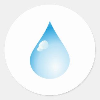 Blue Rain Drop Classic Round Sticker