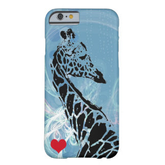 Blue Rain Giraffe with Red Heart Barely There iPhone 6 Case