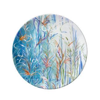 Blue Rain Original Watercolor on Plate