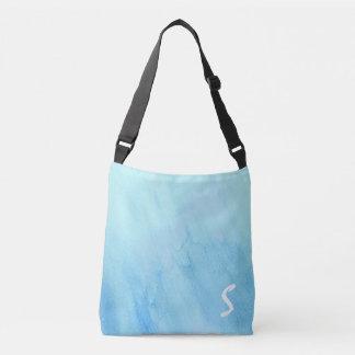 Blue Rain Storm Water Watercolor Paint Crossbody Bag