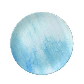 Blue Rain Storm Water Watercolor Paint Dinner Plate
