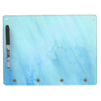 Blue Rain Storm Watercolor Paint Dry Erase Board With Keychain Holder