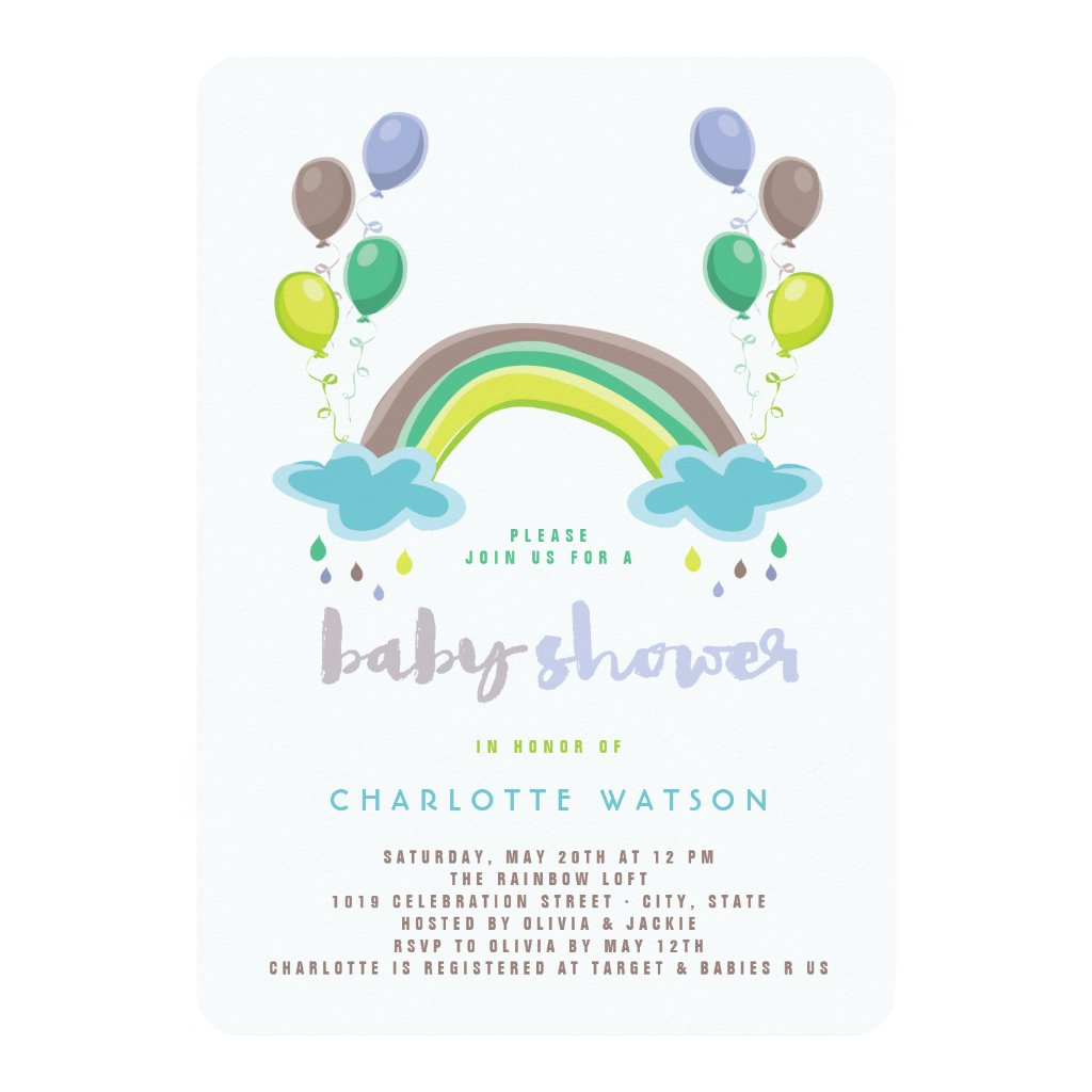 Blue Rainbow & Balloons Boy Baby Shower Invitation