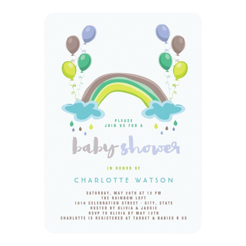 Blue Rainbow & Balloons Boy Baby Shower Invitation