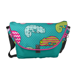 Blue Rainbow Chameleon Pattern Courier Bags
