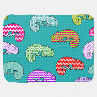 Blue Rainbow Chameleon Pattern Stroller Blanket