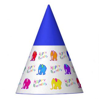 Blue Rainbow Color Cartoon Elephants Kid Birthday Party Hat
