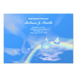 "Blue Rainbow Drops for Boy Baby Shower 5"" X 7"" Invitation Card"
