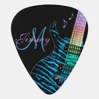 Blue Rainbow Electric Guitar Monogram Guitar Pick by UROCKDezineZone at Zazzle