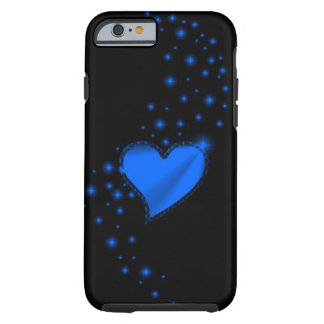 Blue Rainbow Heart with Stars on black Tough iPhone 6 Case