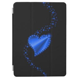 Blue Rainbow Heart with Stars on black iPad Air Cover