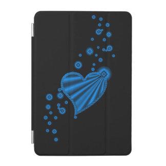 Blue Rainbow Heart with Stars on black iPad Mini Cover