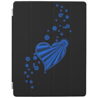 Blue Rainbow Heart with Stars on black iPad Cover