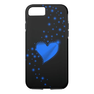 Blue Rainbow Heart with Stars on black iPhone 7 Case