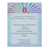 Blue Rainbow Owl Baby Shower Invitation