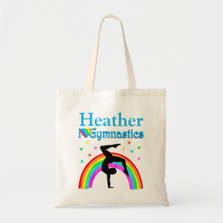 BLUE RAINBOW PERSONALIZED GYMNASTICS TOTE BAG