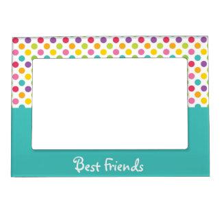 Blue & Rainbow Polka Dot Best Friends Magnetic Frames
