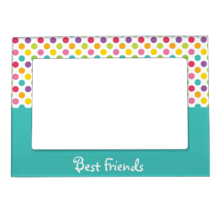 Blue & Rainbow Polka Dot Best Friends Magnetic Photo Frame